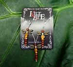 Brass Dragonfly Amber & Carnelian Set