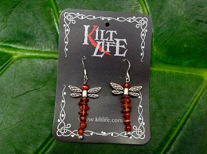 Amber & Carnealian Dragonfly Earrings