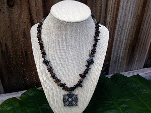 Smokey Quartz Celtic Shield Necklace